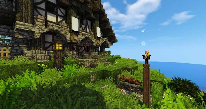 Ejemplo de casa medieval con Conquest Reforged Moden Minecraft