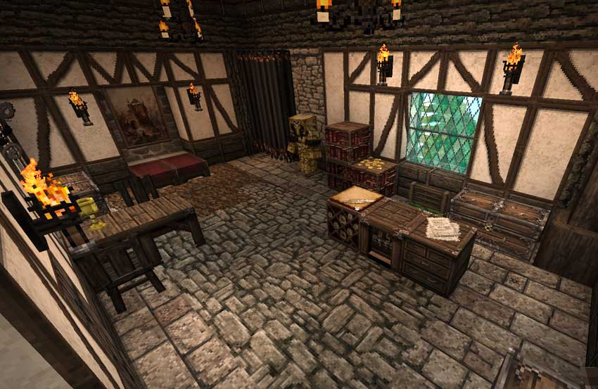 Dormitorio Minecraft con Conquest Reforged Mod